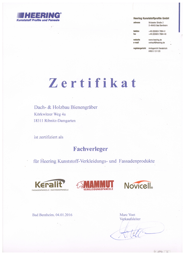 Zertifikat Heering